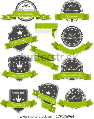 Seals and medals with ribbons - set of blank emblems - stock vector