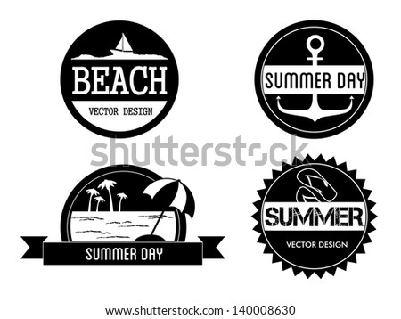 Seals summer iver white background vector illustratrion - stock vector