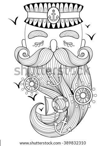 Seaman. Vector old sailor illustration, seaman, captain, fisherman, sea-dog print for adult anti stress coloring page. Hand drawn artistically ornamental patterned captain portrait, sea collection. - stock vector