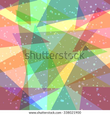 Seamless Abstract Background, Colorful Geometrical Figures, Triangles and Rounds. Vector - stock vector