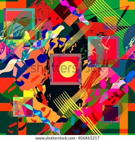 Seamless, abstract background in mixed, summer colors. Vector.