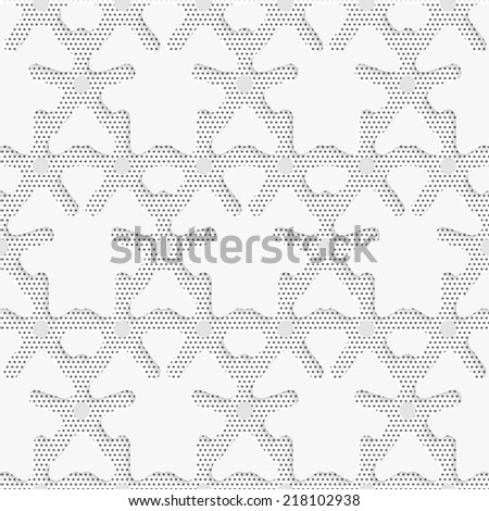 Seamless abstract background of white 3d shapes with realistic shadow and cut out of paper effect. Blue 3d shapes on textured white and black dots pattern.