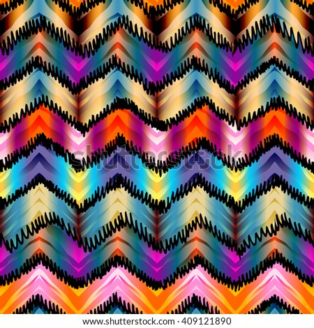 Seamless abstract background pattern. Ethnic chevron pattern. in tie-dye style. - stock vector