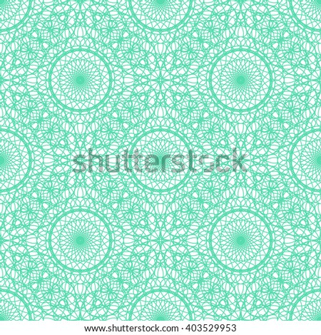 Seamless abstract background pattern with green guilloche ornament isolated on white (transparent) background. Vector illustration eps