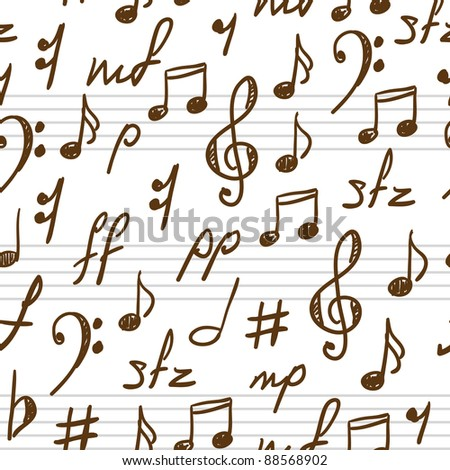 Seamless abstract background with music symbols. Vector illustration. - stock vector