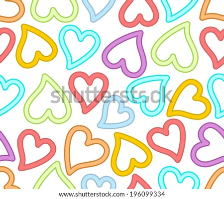 Seamless abstract background with rainbow hearts in outline design