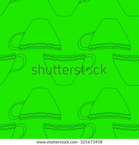 Seamless abstract background with tea cups. Vector illustration. - stock vector