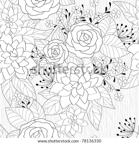 seamless abstract black and white floral background - stock vector