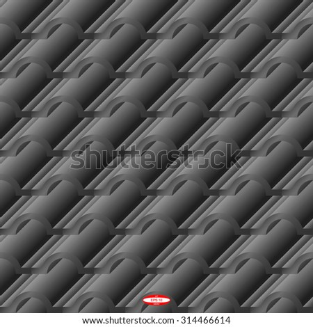 seamless abstract black grey corrugated tile element of roof isolated on gray background. vector illustration