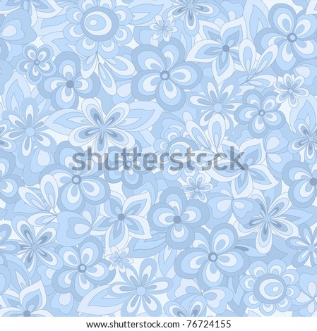 seamless abstract blue flowers background - stock vector