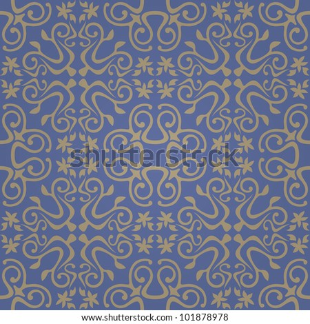 Seamless abstract blue pattern with gradient. Vector illustration - stock vector