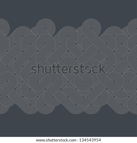 Seamless abstract border. Twisted lines. Vector illustration - stock vector