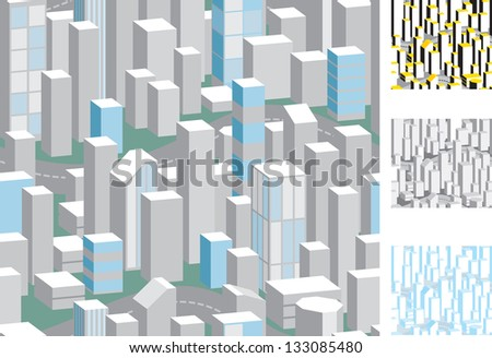 Seamless abstract city. Four vector  patterns with skyscrapers - stock vector