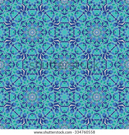 Seamless, abstract, colorful pattern. Template for stained glass, tiles, mosaics, carpets, shawls. Oriental bright ornament in blue tones. - stock vector