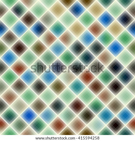 Seamless abstract diagonal plaid pattern in pixel style - stock vector