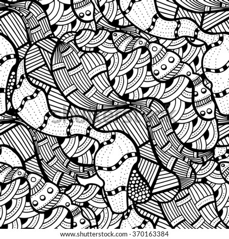 Seamless abstract doodle background pattern in vector.  Design Asian, ethnic, zentangle, tribal pattern. Black and white background. Coloring book. Monochrome.