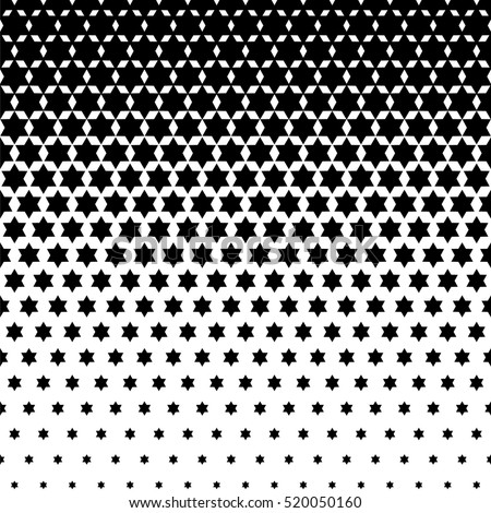 Seamless Abstract dotted background. Halftone effect vector illustration. Black Jewish stars on white background.