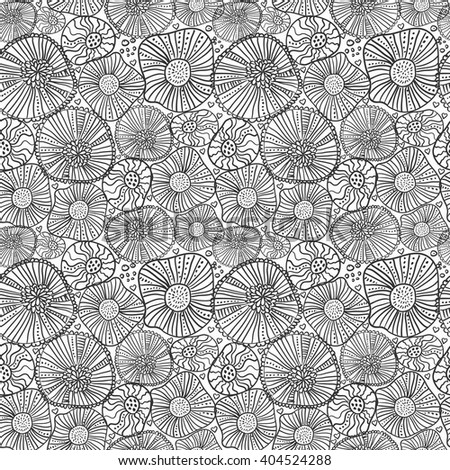 Seamless abstract fantasy background in doodle style. Coloring book page. Vector hand drawn pattern in black and white