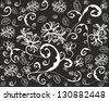Seamless abstract floral background.Black and white - stock