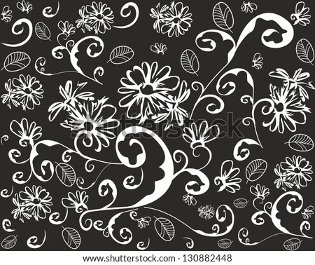 Seamless abstract floral background.Black and white - stock vector
