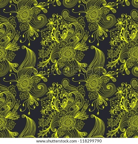 Seamless abstract floral background, hand drawn illustration for design, vector