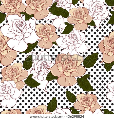 seamless abstract floral background with roses