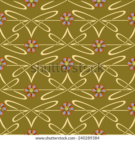Seamless abstract floral pattern with flowers.  - stock vector