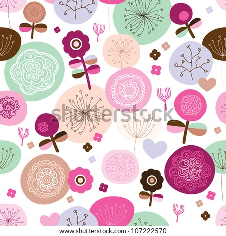 Seamless abstract flower ornament background pattern in vector - stock vector