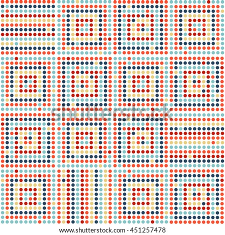 Seamless abstract geometric pattern. Colorful dotted squares on white background. Vector. - stock vector