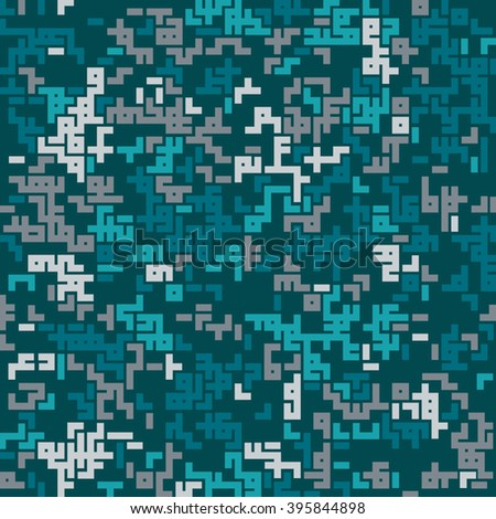 Seamless abstract geometric pattern. Digital camouflage style. Turquoise, green, white labyrinth elements. For textile, paper print, website background and fabric design. EPS10. - stock vector