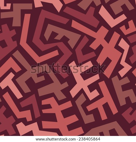 Seamless abstract geometric pattern in vintage style with Marsala trendy colors. Vector illustration EPS8 - stock vector