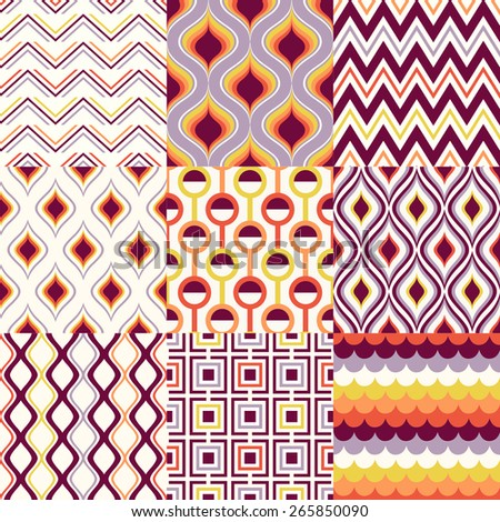 seamless abstract geometric pattern set - stock vector