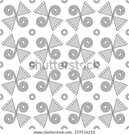 Seamless abstract geometric pattern. Traditional Ukrainian ornament. Hipster background. Line ornament - stock vector