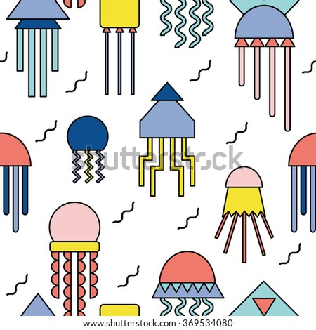 Seamless abstract geometric pattern with jellyfishes - stock vector