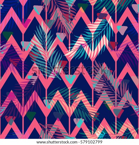 Seamless Abstract Geometric Pattern With The Colorful Tropical Zigzag Lines And Triangles Design Template For