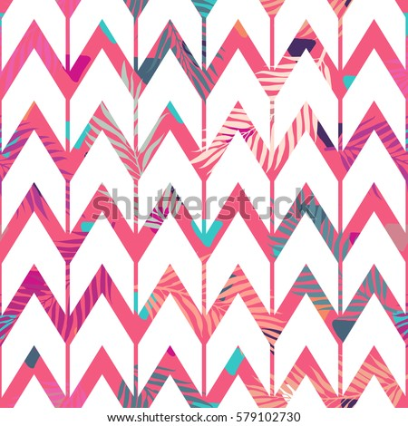 seamless abstract geometric pattern colorful tropical stock vector