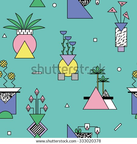 Seamless abstract geometric pattern with vases and plants in bright memphis style 1 - stock vector