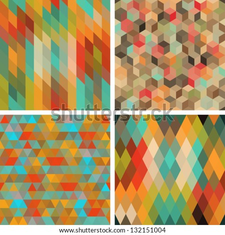 Seamless abstract geometric patterns set. - stock vector