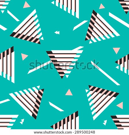 Seamless abstract geometric triangle background pattern in vector.Fashion wallpaper neon colored print design .Pop art . - stock vector
