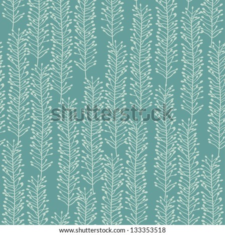 Seamless abstract green floral pattern. Vector illustration - stock vector