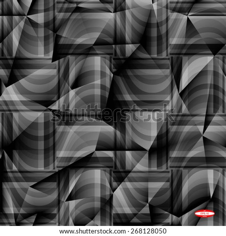 seamless abstract grey pattern gray texture with rectangle with black line on dark grey wicker background vector - stock vector