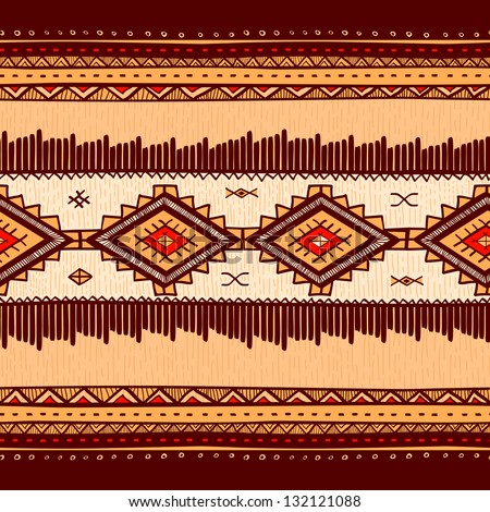 Seamless abstract hand-drawn ethno pattern, tribal background. Seamless pattern can be used for wallpaper, web page background, others.Vintage vector tribal texture. - stock vector