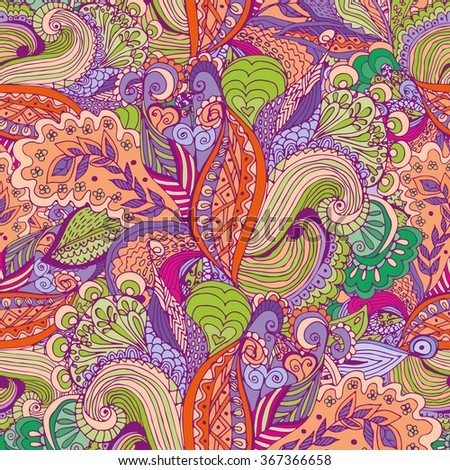 Seamless abstract hand-drawn floral pattern. Tropical motifs. Seamless pattern for Wallpaper, pattern fills, background, congratulations. - stock vector