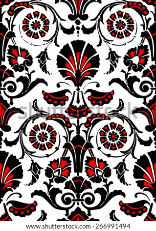 Seamless abstract hand-drawn floral pattern, vintage background. Ethnic pattern can be used for wallpaper, pattern fills, web page background, surface textures, packaging, invitations - stock vector