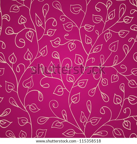 Seamless abstract hand-drawn leaves pattern. Seamless pattern can be used for wallpaper, pattern fills, web page background,surface textures. Abstract seamless floral background - stock vector