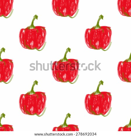 Seamless abstract hand drawn pattern with red paprika peppers . - stock vector