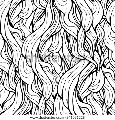Seamless abstract hand-drawn waves Background  in black and white - stock vector