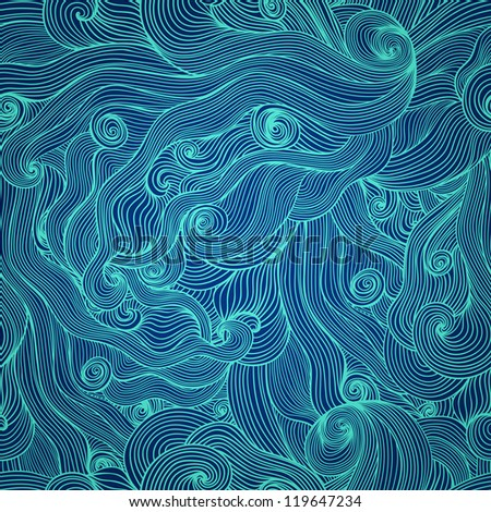 Seamless abstract hand-drawn waves texture, wavy background. Seamless pattern can be used for wallpaper, pattern fills, web page background, surface textures. Detailed waves seamless background - stock vector