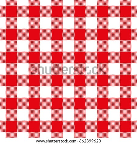 Seamless abstract illustration of red checkered (gingham) table cloth, vintage or retro styled traditional pattern, also for napkin