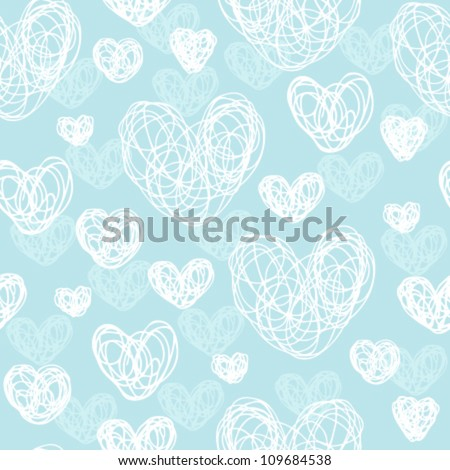Seamless abstract light pattern with white hearts on gentle blue background. Template illustrated background for design card, cover, textile - stock vector